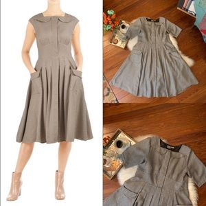 Eshakti Black houndstooth plaid fit flare dress 16